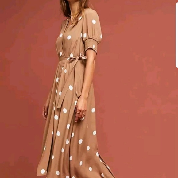 a2300dfaa6fe Mauve Dresses | Anthropologie Breanna Brown Polka Dot Wrap Midi Dr ...